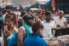 Busy market. Old Delhi, India : February 15th, 2015 - Shot of a busy street in Old Delhi, India Stock Image