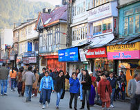 Busy market street. In Shimla, India. The picture was taken on Jan 03,2011 in the himalayan township of Shimla in India. The picture is of of the main market in Royalty Free Stock Photo