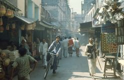 1977. India. A busy market street. The picture shows a busy market street Stock Images