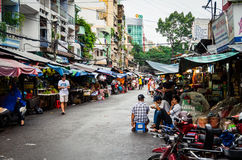 Busy market street in Ho Chi Minh City, Vietnam Stock Images