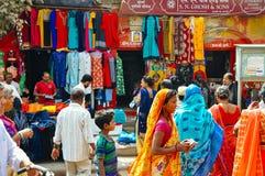 A busy market in Varanasi, India. Many tourists and locals shopping at a busy market in Varanasi, India royalty free stock photography