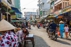 A busy Mekong Delta market in Nga Bay, Vietnam Royalty Free Stock Photos