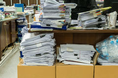 Busy, messy and cluttered workplace Stock Photo
