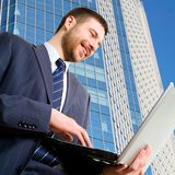 Busy modern businessman Stock Image