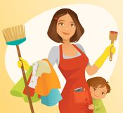 Busy Mom. A busy mom handling different chores Stock Photos