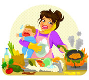 Busy mom. Stressed young woman doing many tasks while holding a crying baby Stock Photos