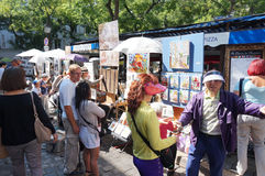 Busy Montmartre Market Place Royalty Free Stock Photography