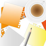 Busy morning. A busy morning and a lot of papers with coffee Stock Image