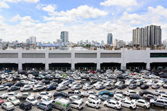 Busy morning of Bangkok BTS train parking lot at Chatuchak station Royalty Free Stock Photography