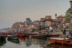 Busy morning at Ganges rive. Varanasi, India - Mar 8, 2017. Busy morning at Ganges river in the holy city of Varanasi stock image