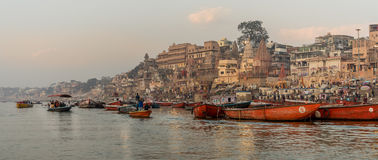 Busy morning at Ganges river Royalty Free Stock Image