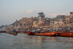 Busy morning at Ganges river Royalty Free Stock Photos