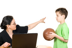 Busy mother. Too busy mother who don't have time to play with her son Stock Photo