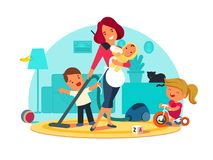 Busy mother feeds child. Cleans room and speaks by phone. Vector illustration Stock Images