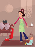 Busy mother in home Royalty Free Stock Photo