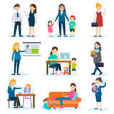 Busy Mother And Pregnant Woman Set Stock Photography