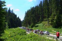 Busy mountain road hikers Stock Image