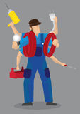 Busy Multi-tasking Handyman Worker Cartoon Character Vector Illu Stock Photography