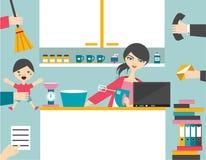 Busy multitask woman. Stock Photos