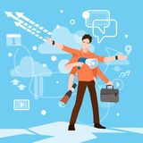 Busy Multitasking Manager Business Man With Many Hands Stock Images