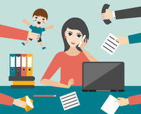 Busy multitasking woman clerk in office. Flat vector. Royalty Free Stock Image