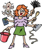 Busy Mum. A mother has a lot of cleaning to do, lucky she has 6 arms Stock Photography