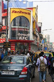 Busy Mumbai street scene. Modern Mumbai street scene with KFC restaurant: Linking Road.  Mumbai is India's financial capital and an ever expanding metropolis in Stock Photography