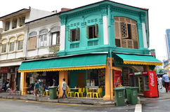 The busy neighborhood of Little India in Singapore Stock Photo