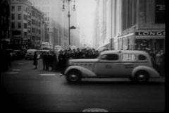 Busy New York City street, 1930s stock video footage