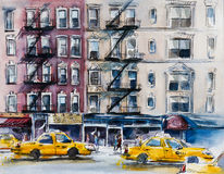 Busy New York street. Watercolor sketch. Stock Photography