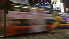 A busy night in Causeway Bay stock footage