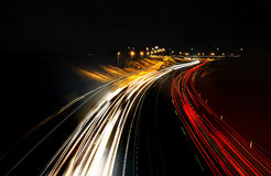 Busy night highway Royalty Free Stock Photo