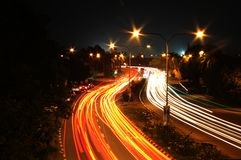 Busy Night. Light Trail in the busy night at Paroi Road Seremban Royalty Free Stock Photography