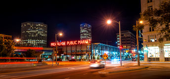 Busy night in Milwaukee Downtown Stock Images