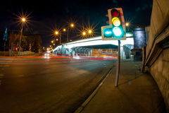 Busy night road. Urban city road with car light trails at night Stock Image