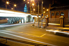 Busy night road. Urban city road with car light trails at night Stock Images