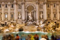 Busy night at Trevi fountain, Rome Stock Photo
