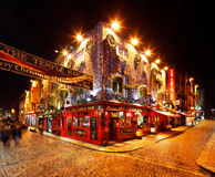 A busy nightlife of the Temple Bar area of Dublin, Ireland Stock Photo