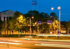 Busy nighttime intersection Stock Image