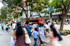 Busy Orchard Road During Christmas in Singapore Stock Image