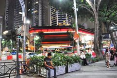 Busy orchard in singapore at night Stock Image