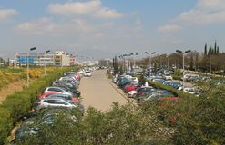Busy outdoor parking lot in Nicosia royalty free stock image