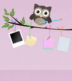 Busy owl/Little brown owl on branch with pencil. And different kind of note papers hanging of the  branch Royalty Free Stock Photography