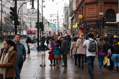 Busy Oxford Street in London at Christmas period Royalty Free Stock Images