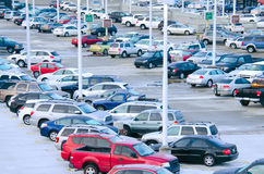 Busy packed parking lot. A very busy and completely packed parking lot with only a few spaces available Stock Images