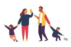 Busy parents with mobile smartphones. Family with kids. People vector illustration. Busy parents with mobile smartphones. Family with kids. Children demanding royalty free illustration