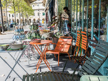 Busy Paris sidewalk garden shop display Royalty Free Stock Images
