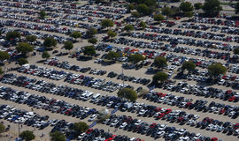 Busy parking lot. On day Royalty Free Stock Photos