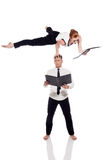 Busy partners posing in unreal pose with folders. Business partners posing in unreal pose with folders,  on white Stock Image