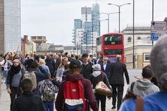 Busy pavement on London Bridge Stock Image